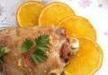 Мясо индейки в глазури с апельсинами