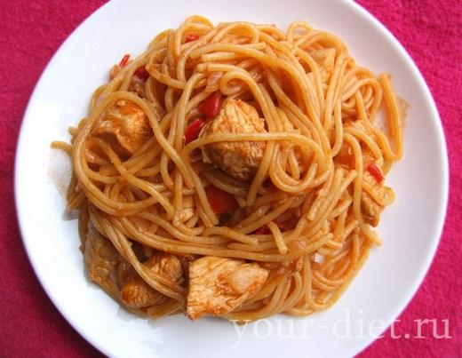 Выкладываем спагетти с курицей на тарелку