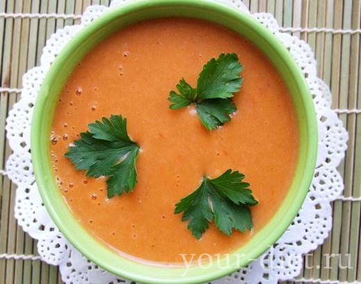 Суп-пюре из помидоров с чесноком