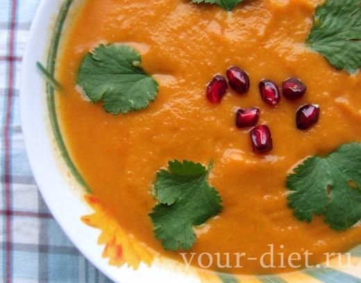 Морковный суп-пюре с кинзой