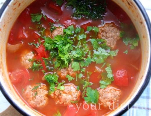 Томатный суп с интересными фрикадельками, пошаговый рецепт с фото